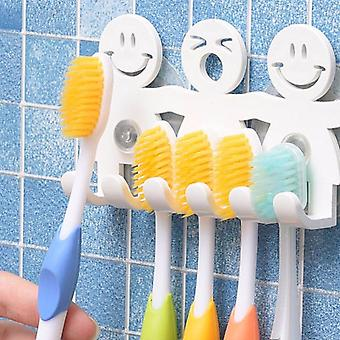 Cute Cartoon Smile Faces-wall Mounted Toothbrush Holder With Suction Cup
