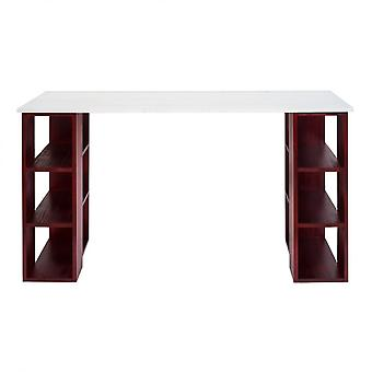 Rebecca Furniture Desk Table Computer Deur Rood Wit Hout 75x140x60