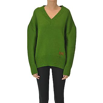 Ami Paris Ezgl510004 Women's Green Wool Sweater