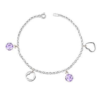 Ah! Jewellery Light Amethyst Crystals From Swarovski Dangle Charm Bracelet. Open Heart and Heart Ouline Sterling Silver Charms Included, Stamped 925
