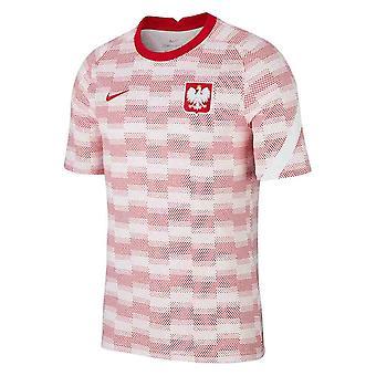 2020-2021 بولندا نايكي قبل المباراة قميص التدريب (أبيض)