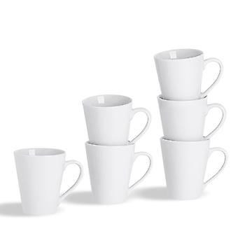 6 Piece White Latte Tea and Coffee Mug Set - Classic Porcelain Hot Drink Mugs Cups - 285ml