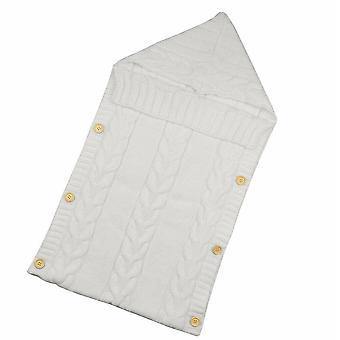 طفل حديث الولادة محبوك الكروشيه مقنعين أكياس النوم- الأولاد الطفل / الفتيات زر بطانية متماسكة دافئة التفاف حقيبة النوم