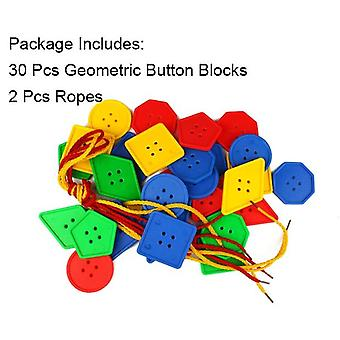 Montessori Educational For, Early Learning Geometric Blocks Threading Buttons