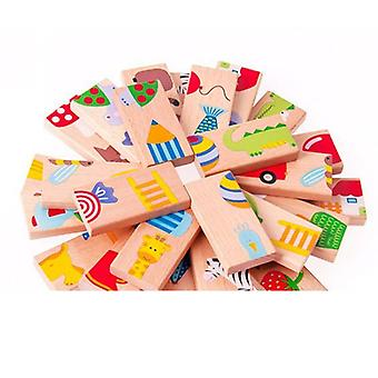 Wooden Board Game High-grade Domino Solitaire Early Learning Educational