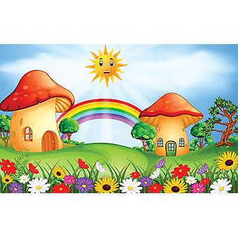 Photo wall mural mushroom houses