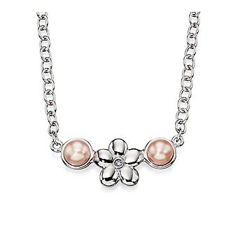 D for Diamond Childrens 925 Sterling Silver Rose Pink Pearl Diamond Flower Necklace of Length 35cm + 5cm