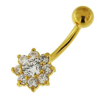3 Micron 18K Yellow Gold Plated Clear CZ Stone Studded Flower Design Sterling Silver Belly Bars Piercing
