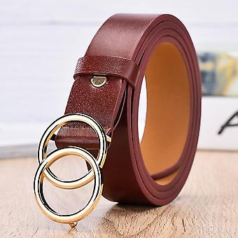 New Designers Famous Leather High-quality Fashion Alloy Double Belt