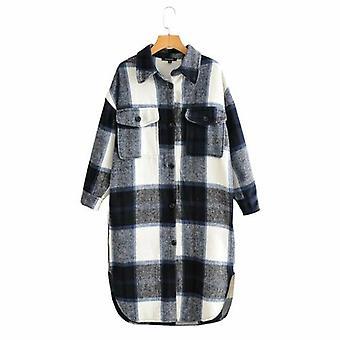 Turn Down Color Plaid Long Shirt Coat