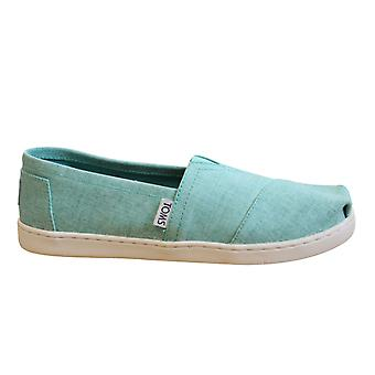 Toms Classic Turquoise Coat Linen Slip On Youths Kids Espadrille Shoes 10009954
