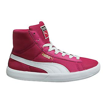 Puma Archive Lite Mid Kids Girls Pink White Lace Up Juniors Trainers 354902 03