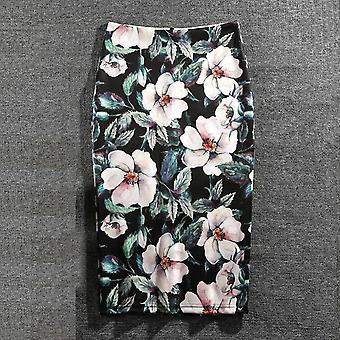 Γυναίκες Λουλούδια Εκτύπωση Μολύβι Φούστα Καλοκαίρι Casual Μόδα Faldas Mujer Jupe