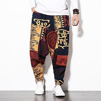 Homens Cotton Harém Calças com bolso, homens Hip-hop Baggy Calças de Perna Larga