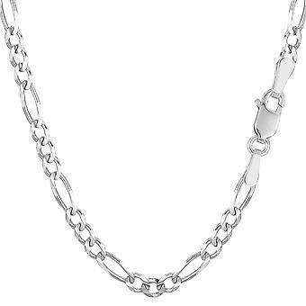14k White Solid Gold Figaro Chain Bracelet, 3.9mm