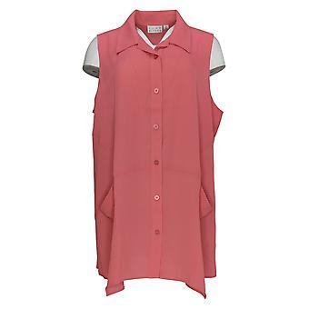 Joan Rivers Classics coleção mulheres ' s Top textured crepe Pink A303765