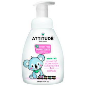 Attitude Shampoo, Gel and Conditioner Peques 3 in 1 without Perfume 300ml Eco
