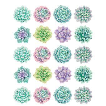 Rústica Bloom Succulents Pegatinas, Paquete de 120