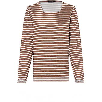 Olsen Tan & White Striped Jumper