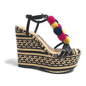 Shoes Woman Schutz Sandalo Wedge Tc 12 Pl 5 Rafia Natural Black Pon Pon Ds17sc04