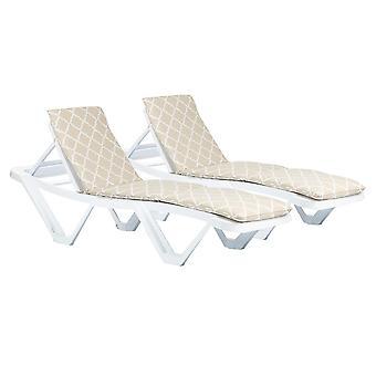 2x Master Sun Lounger Cushions Padded Outdoor Garden Mattress Beige Moroccan