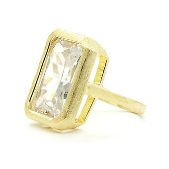 Huge Bezel Set Emerald Cut Clear Brushed Gold Ring