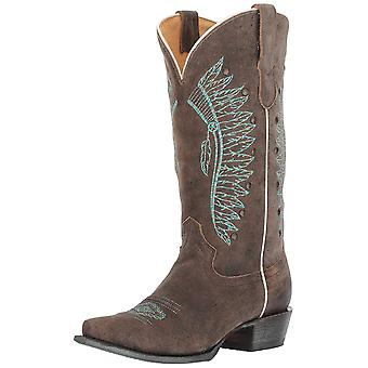 Roper Womens Chiefs Leather Pointed Toe Mid-Calf Cowboy Boots