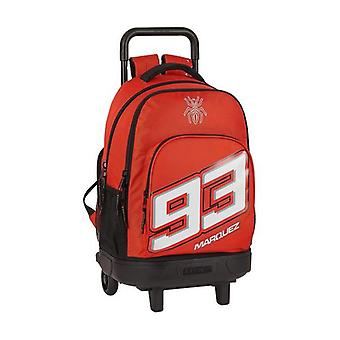School Rucksack with Wheels Compact Marc Marquez Black Red
