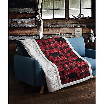 Spura Home Pictorial Buffalo Plaid Red Primitive Quilted Sherpa Throw