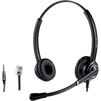 FengChun Telefon Headset mit Mikrofon Noise Canceling, Duo CallCenter Büro Kopfhörer mit RJ11 und