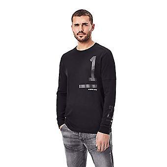 G-STAR RAW Nummer Grafisk T-Shirt, Dk Svart C336-6484, XL Herr