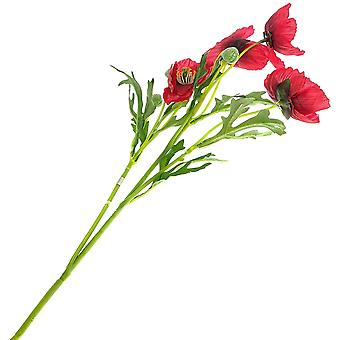 55cm Red Artificial Fabric Poppy Flower Stem for Floristry Crafts
