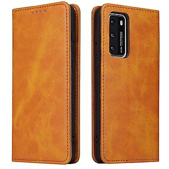 Flip folio leather case for samsung a21 khaki pns-1094