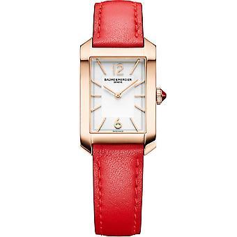 Baume & Mercier M0a10628 Hampton Pink Gold Titanium Red Leather Ladies Watch