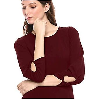 Brand - Lark & Ro Women's Gathered 3/4 Sleeve Crew Neck Fit and Flare Dress with Pockets, Port, 6