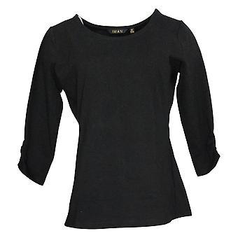 IMAN Global Chic Women's Top Contour Seamed 3/4-Sleeve Tee Black 722322