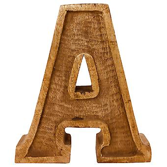 Letter A Hand Carved Wooden Embossed