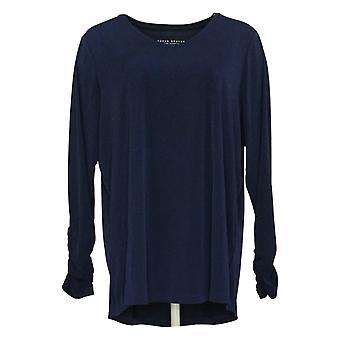 Susan Graver Women's Top Modern Essentials Liquid Knit Tunic Blue A369119