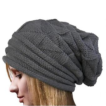 Winter Knitted Hat, Men & Women Beanie Fleece Lining Skully Cap(Dark Gray)