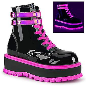 Demonia Women's Boots SLACKER-52 Blk Pat-UV Iridescent Rose