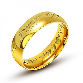 Gold-plated Black Personality Rings Couple Titanium Steel Ring Sa537