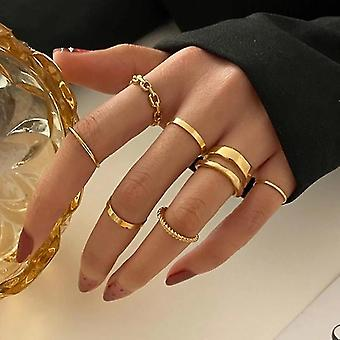 Gold Knuckle Rings Set For Women Snake Chain Stacking Ring Vintage Ring(Golden)