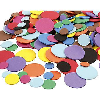 300 Diverse Bright Coloured Foam Circles voor Kid's Crafts