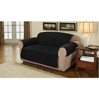 Changing Sofas Soft Faux Suede Quilted 2 Seater Sofa Cover Protector Throw, Black