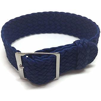 (22mm) Perlon hodinky popruh modrý 20mm s leštěnou nerezovou sponou