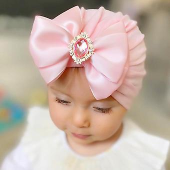 Big Bow Rhinestone Hat For Newborn Baby Turban   With Diamond Stone Hat