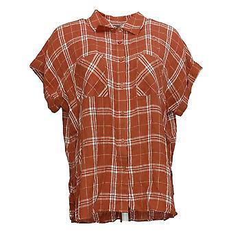 G by Giuliana Women's Top Short Sleeve Button-Up Brown 650872