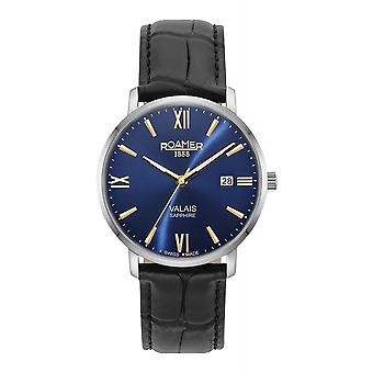 Roamer 958833 41 41 05 Men's Valais Black Leather Strap Wristwatch
