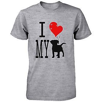 Söpö graafinen ilmoitus t-paita - rakastan minun koira harmaa graafinen t-paita
