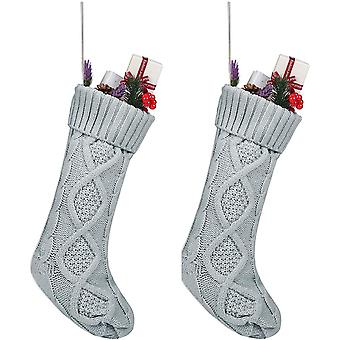 Cable Knit Christmas Stockings Classic Xmas Ornaments Home Decorations 2pcs